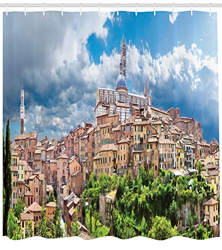 (Lunarable Tuscan Shower Curtain, Historic City Attractive City of Siena Bell Tower Cityscape Fluffy Clouds Clear Sky, Cloth Fabric Bathroom Decor Set with Hooks, 75 Inches Long, Multicolor)