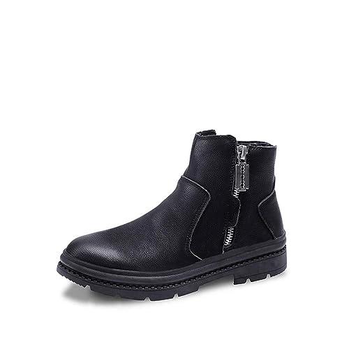 CHENJUAN Zapatos Botines de Hombre Casual Otoño Invierno Nuevo Zapatos de Trabajo clásicos con Cremallera Superior Alta (Velvet cálido Opcional): Amazon.es: ...