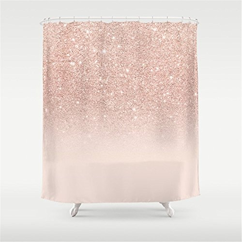Huisfa Rose Gold Faux Glitter Pink Ombre Color Block Shower Curtain 72 x 72 inches