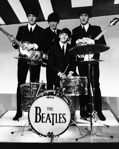 The Beatles classic pose early 1960's with drums & guitars 8×10 Promotional Photograph