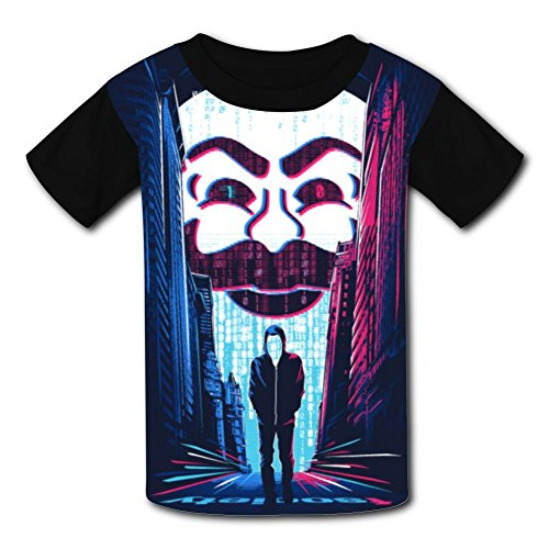 Custom Kids V for Mask Tee Shirt T-Shirt for Children Boys Girls M Black