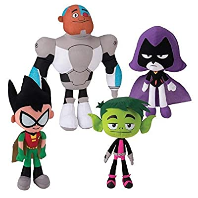 "Teen Titans Go! 10"" Plush Figure 4 Piece Set - Includes Robin, Beast Boy, Cyborg, and Raven: Toys & Games"