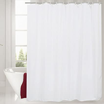 Galilery Mildew Resistant Fabric Shower Curtain Waterproof Water Repellent Antibacterial For Bathroom 72x84 Inch White