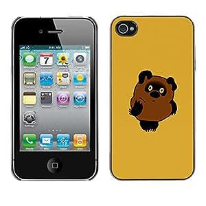 CASEX Cases / Apple Iphone 4 / 4S / Cute Bear # / Delgado Negro Plástico caso cubierta Shell Armor Funda Case Cover Slim Armor Defender