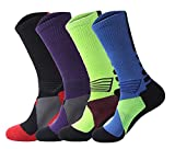 4 Pack Men's Cushioned Basketball Dri-Fit Athletic Compression Long Sports Outdoor Dress Socks Size 7-12