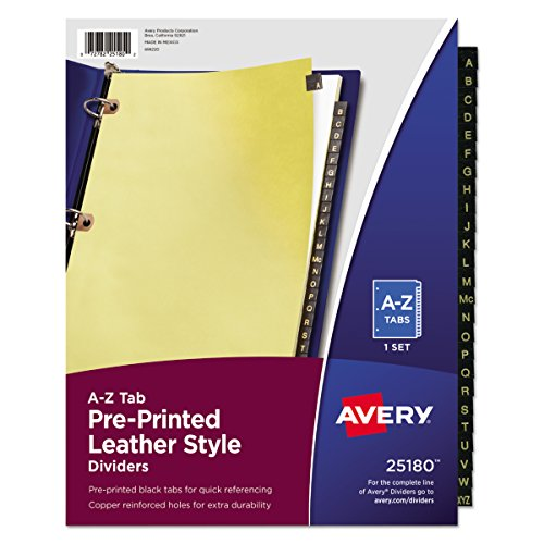 Avery 25180 Preprinted Black Leather Tab Dividers w/Copper Reinforced Holes, 25-Tab, Letter
