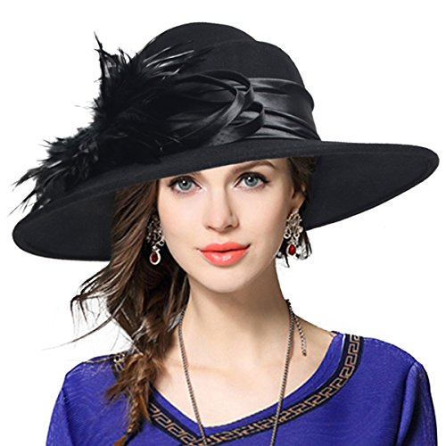 VECRY Ladies 100% Wool Felt Feather Cocktail British Formal Party Hat (Black) (Black Ladies Church Hats)