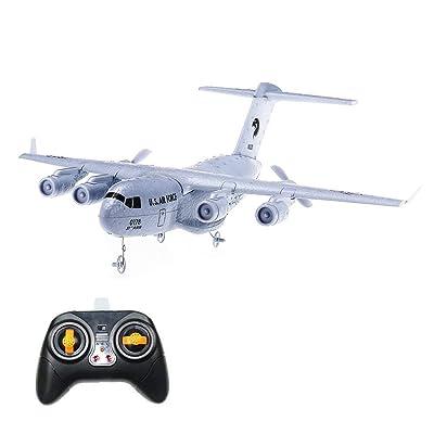HankerMall Avión RC C-17 Transporte EPP Aviones DIY 2 Canales 2.4 GHz Control Remoto 3 Ejes Gyro Avión de Juguete RTF: Juguetes y juegos