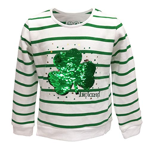 (Traditional Craft Limited White/Green Stripe 2 Way Sequin Shamrock Kids Sweatshirt (9/10))