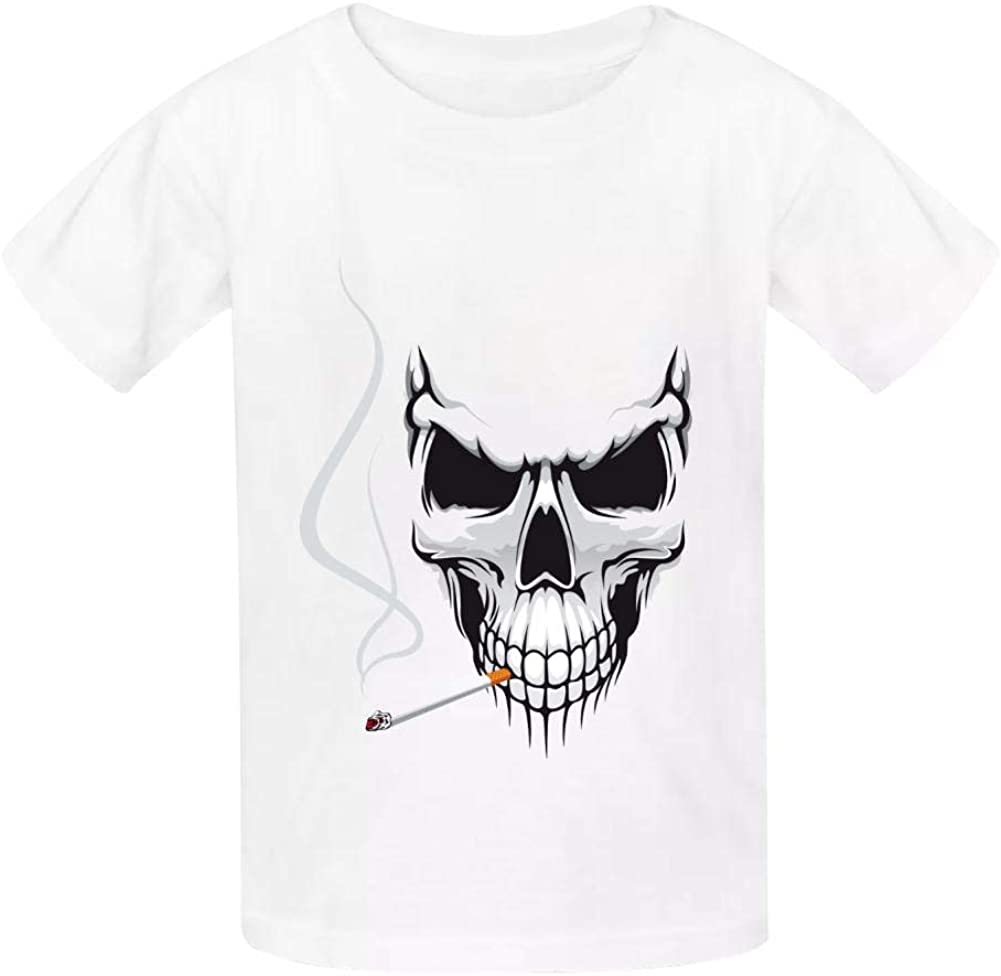 A Smoking Skeleton Boys Summer Slim Fit Pure Color Short Sleeve Casual T-Shirts