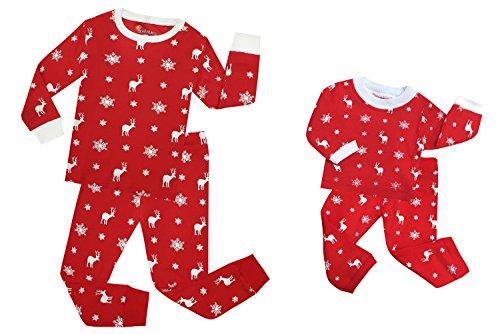 TinaLuLing Fashion Matching Girls&Doll 2 Pieces Christmas Pajamas Kids Cotton Reindeer Sleepwear Children Pyjamas for 2-8 Years (5 Years) (Girls 4 Sleepwear)
