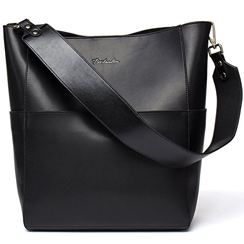 BOSTANTEN Women's Leather Designer Handbags Tote Purses Shoulder Bucket Bags (Designer Black Handbag)
