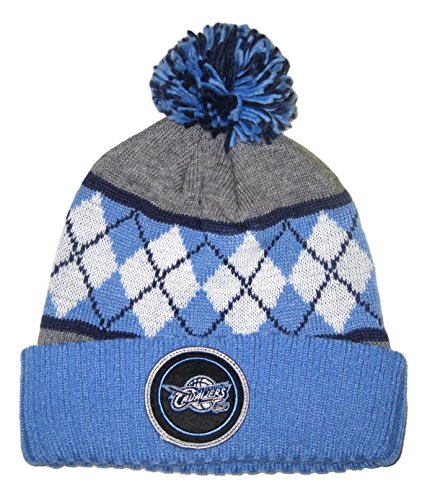 (Mitchell & Ness Cleveland Blue Argyle Ball Top Cuffed Sweater Knit Beanie Hat (TS 288) )