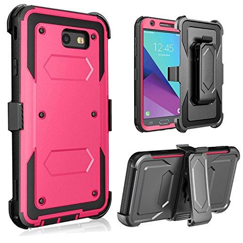 J.west Shockproof Hybrid Holster Case for Samsung Galaxy J7 (2017)/Galaxy J7 V/Galaxy Halo/Galaxy J7 Perx/Galaxy J7 Prime/Galaxy J7 Sky Pro Full-Body Rugged Belt Swivel Clip Kickstand Case Cover Rose