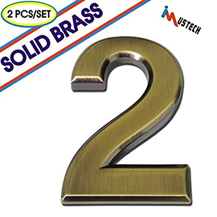 IMustech Mailbox Numbers, 2 Pcs/Set Solid Self Stick Number 2 For Mailbox