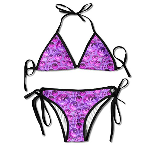 KinForYboby Purple Weed Leaf Lady Cheap Beach Surfing Bikini Top - Outline Leaf Weed