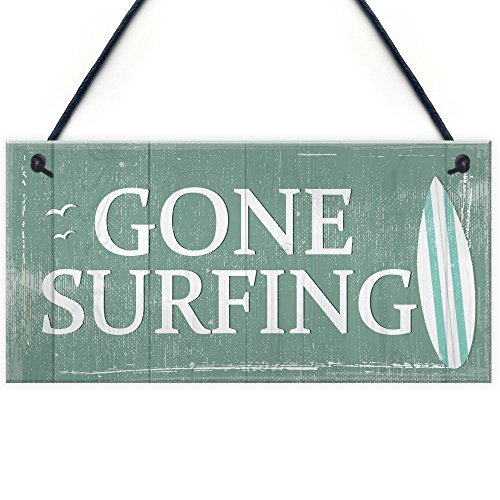 Gone Surfing Hanging Plaque Nautical Decor Beach Seaside Shabby Chic Home Sign Gift (Nautical Surfing Gone Sign)