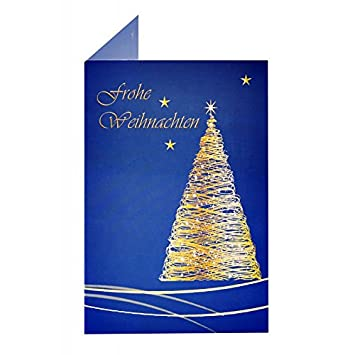 10 High Quality Christmas Cards Blue Golden Tree As A Folding