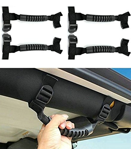 4 x Roll Bar Grab Handles Grip Handle for Jeep Wrangler YJ TJ JK JKU JL JLU Sports Sahara Freedom Rubicon X & Unlimited 1995-2018 (Roll Bar Black) ()
