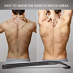 Bornku Back Shaver for Men BS100 Body Groomer and Trimmer Kit Back Hair Razor with 5 Inch Width Shaver Blade + Curved & Lightweight Handle