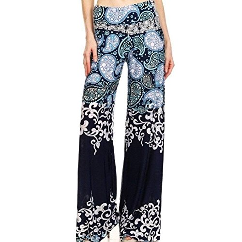 Donna Bianca Glamorous Semplice Tempo Leggero High Libero Yoga Lunghe Accogliente Stampato Palazzo Waist Haidean Estivi Elegante Pantaloni 5w4qa4