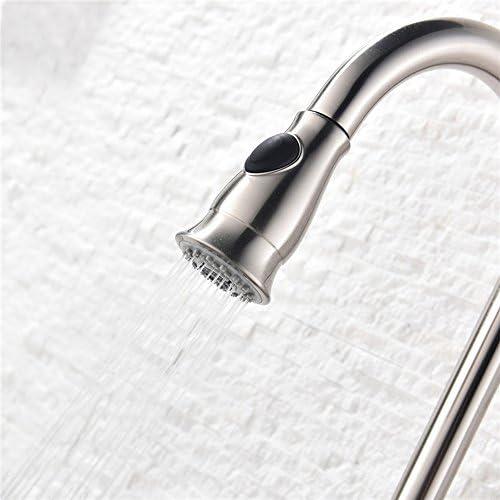 キッチン用 蛇口 キッチン水栓 ハンドシャワー形 伸縮 ノズル ホース引出し 水 湯 切り替え 混合栓 シングルレバー 真鍮 (ブラック)