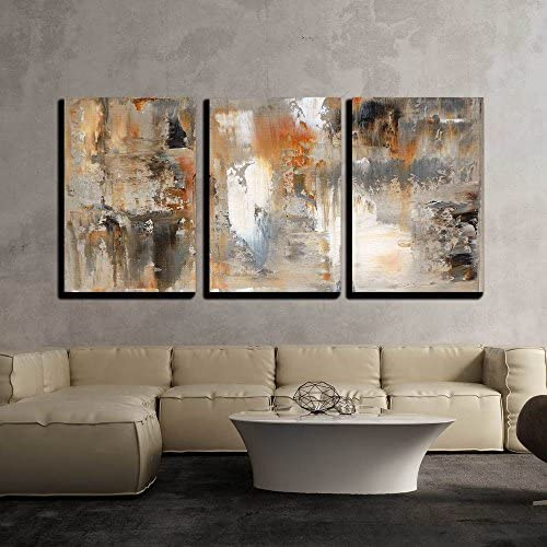 Abstract Brown and Beige Painting x3 Panels