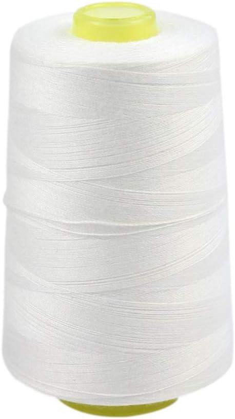 Ogquaton 1 Rollo de Hilo de Coser de algodón para máquina de Coser sin blanquear (Blanco, 3000 Yardas): Amazon.es: Hogar