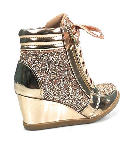 Forever Link Damen Peggy 44 Glitter Metallic gesteppte Schnürschuhe Low Top Fashion Sneaker Rose Gold Peggy-44