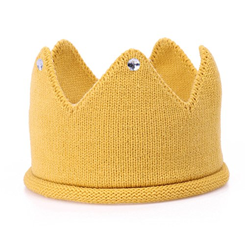 Baby Crown Hat Boys Girls Knit Headband Birthday Party Warm Crochet Beanie for Toddler Child PTK20 (Yellow)