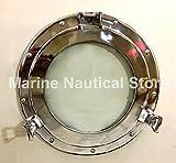 Maritime Silver 15'' Porthole Round Window Glass Nautical Boat Ship Home Decor