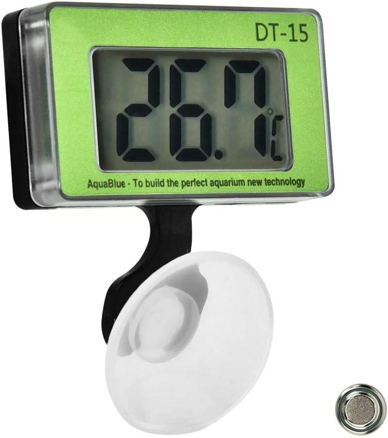 Pssopp Termómetro para acuarios Herramienta de medición de la Temperatura del Tanque de Peces Termómetro Digital LCD Termómetro con Pantalla Digital para acuarios con Ventosa