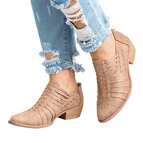 Casual Women's On Cut Hunleathy Ankle Khaki Short Out Low Heel Boots Slip 5F4TgwOq