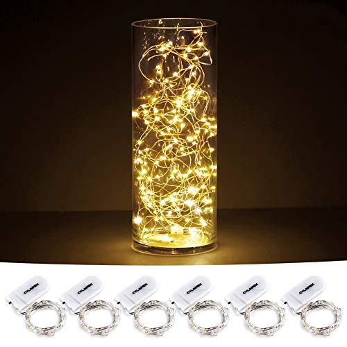 CYLAPEX Paquete de 6 luces de cadena estrelladas con 20 micro LEDs en cable de cobre con revestimiento de plata de 3.3 pies /1 m, batería Fairy Lights alimentado por 2x CR2032 (Incl.), Para decoraciones de mesa de Navidad para fiestas Blanco cálido
