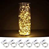 CYLAPEX Pack of 6 LED Starry String Lights with 20 Fairy Micro LEDs on 3.3feet/1m Silver Coated Copper Wire, Battery Powered by 2x CR2032 (Included), for Party Christmas Table Decorations Warm White
