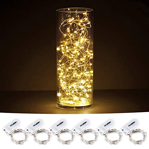 CYLAPEX Pack of 6 LED Starry String Lights with 20 Micro LEDs on 3.3feet/1m Silver Coated Copper Wire, Fairy Lights Battery Powered by 2x CR2032(Incl), for Party Christmas Table Decorations Warm White (Micro Led Lights)