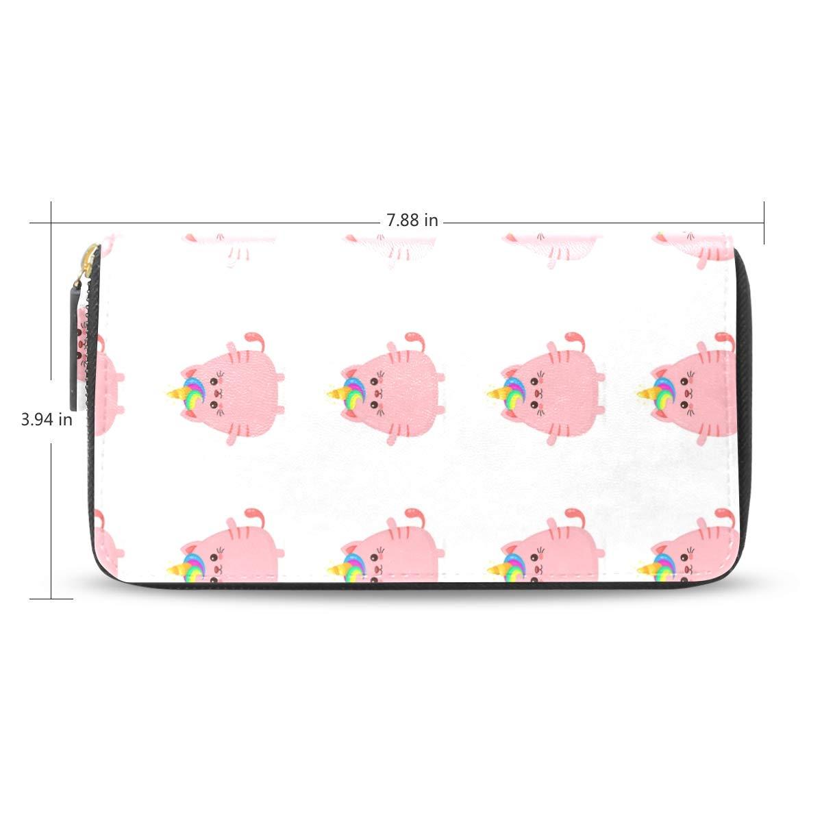 Women Unicorn Cat Leather Wallet Large Capacity Zipper Travel Wristlet Bags Clutch Cellphone Bag