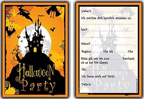 Halloween Einladungskarten Kindergeburtstag Jungen Mädchen 8 Stück Einladung Halloweenparty Party Feier Geburtstag Grusel Hexe Zauberer Spukschloß Amazon De Bürobedarf Schreibwaren