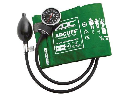 ADC Diagnostix 720 Pocket Aneroid Sphygmomanometer with Adcuff Nylon Blood Pressure Cuff, Adult, Green