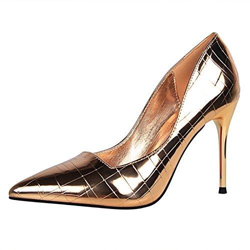 YMFIE Laca de Estilo Europeo señaló Delgada Superficial Sexy Zapatos de tacón Solo Zapatos Zapatos de Damas. g
