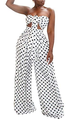 HuiSiFang Women's Sexy Polka Dot Two Piece Outfits Tie Front Bra Tube Top High Waisted Wide Leg Pants Jumpsuits Clubwear White ()