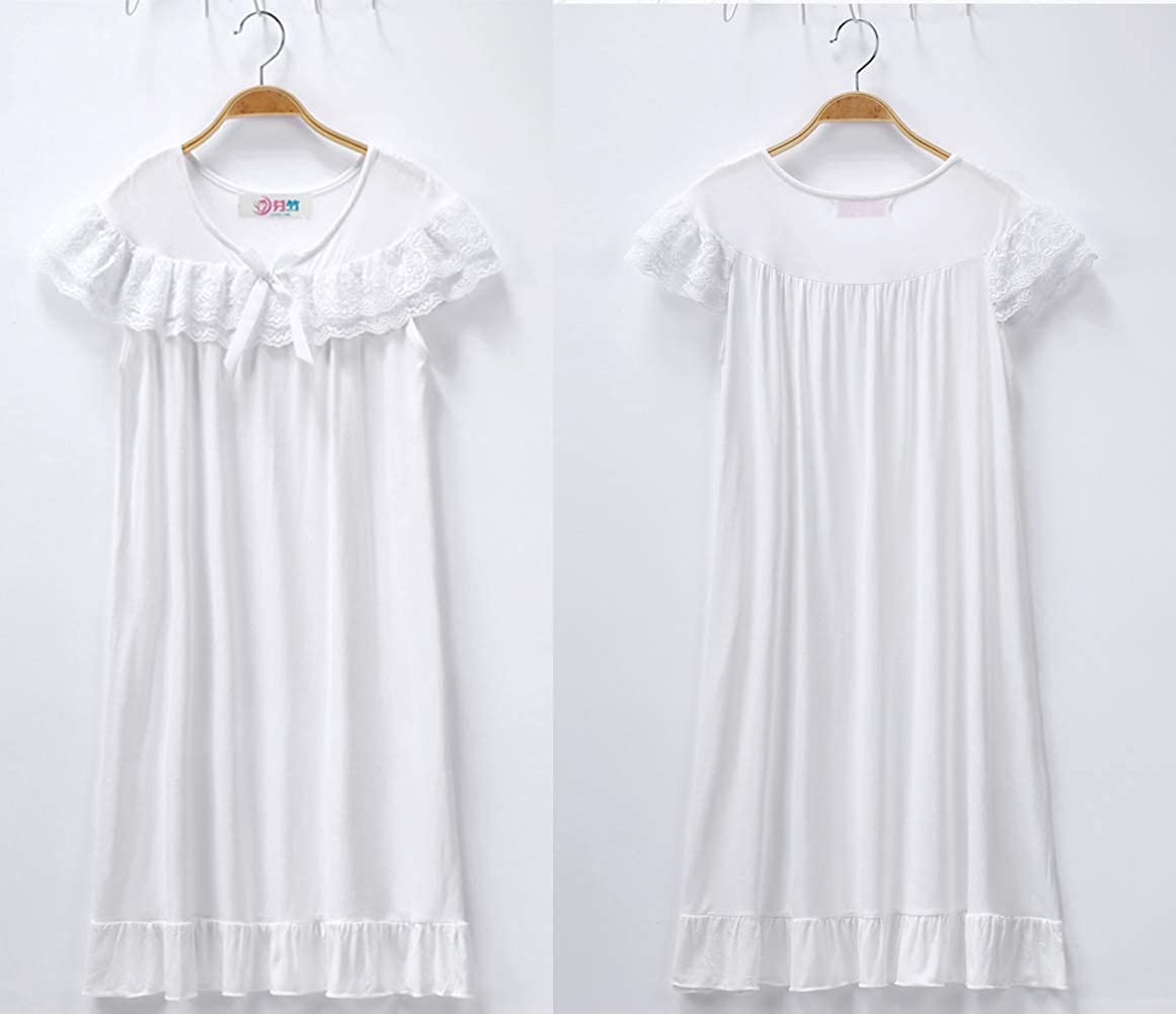 2019 Girls Nightdress Lace Princess Nighties Nightgown Sleepwear White Nightdress Casual Lounge
