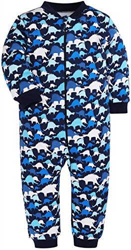 ss Striped Camouflage Pajamas Boys Girls 100% Cotton Sleep and Play(3-6 Months) (1 Piece-Dinosaur, 18-24 Months) (Footless One Piece)
