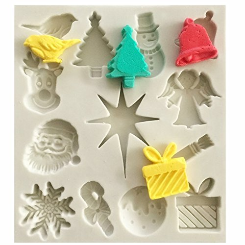 - Efivs Arts Christmas tree/Santa Claus/Elk/Snowflake/Bell/Christmas Gift Shaped Fondant Silicone Mold Sugar and Gum Pastefor Craft Cake Silicone Molds Tools forChristmas Party Cake Decoration