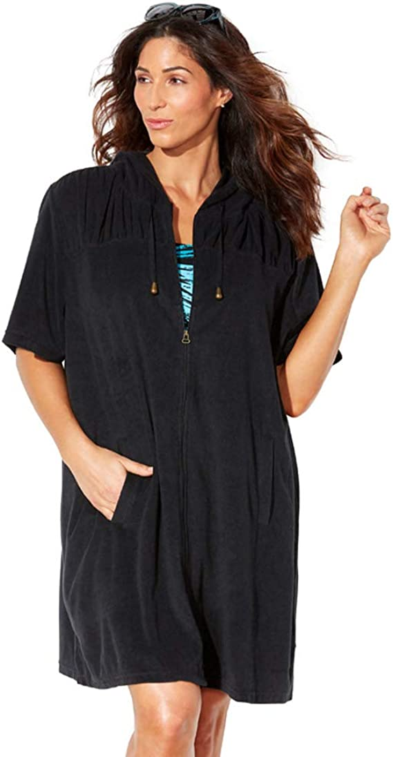 Swimsuitsforall Swimsuits For All Women S Plus Size Alana Terrycloth Cover Up Hoodie At Amazon Women S Clothing Store