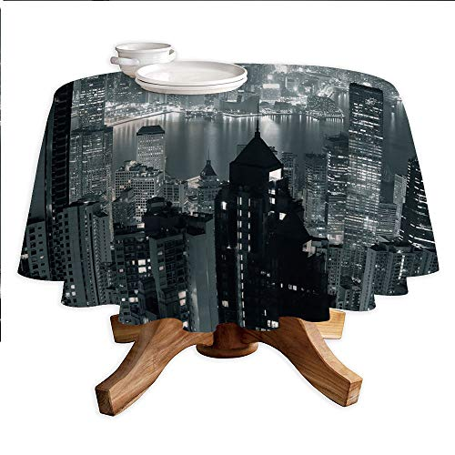 (City Decor Round Polyester Tablecloth,Aerial Night of View Hong Kong Skyline Famous Modern Urban Town Metropolis Panorama,Dining Room Kitchen Round Table Cover,70