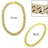 "hsn_zem Fashion Hip Hop Men Gold PT 15mm 20"" Miami Cuban Choker Chain Necklace Jewelry"