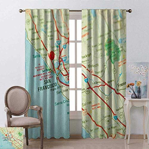 youpinnong Map, Curtains Small Window, Vintage Map of San Francisco Bay Area with Red Pin City Travel Location, Curtains Kids Bedroom, W84 x L84 Inch, Pale Blue Pale Green Red