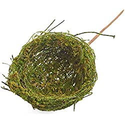 Set of 3 Green Mossy Bird Nests on Twig for Wedding Favors, Party Favors or Baby Showers