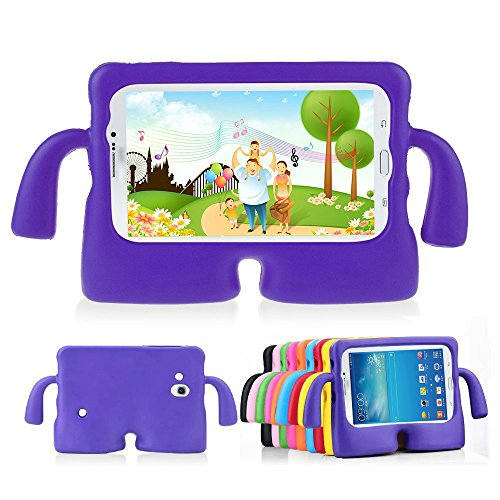 Lioeo Galaxy Tab 3 Kids Case 7.0 Tab 3 Lite Back Case for Children Carrying Handle Light Weight Cases for Samsung Tablet 3 /3 Lite 7.0 In NOT Fit For 8 Inch (Purple) (7 For Cases Tablet Inch Kids)